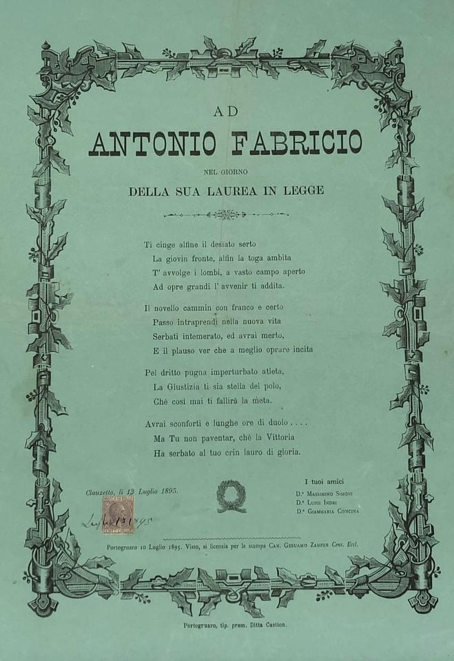 Ad Antonio Fabricio il giorno della sua laurea in legge