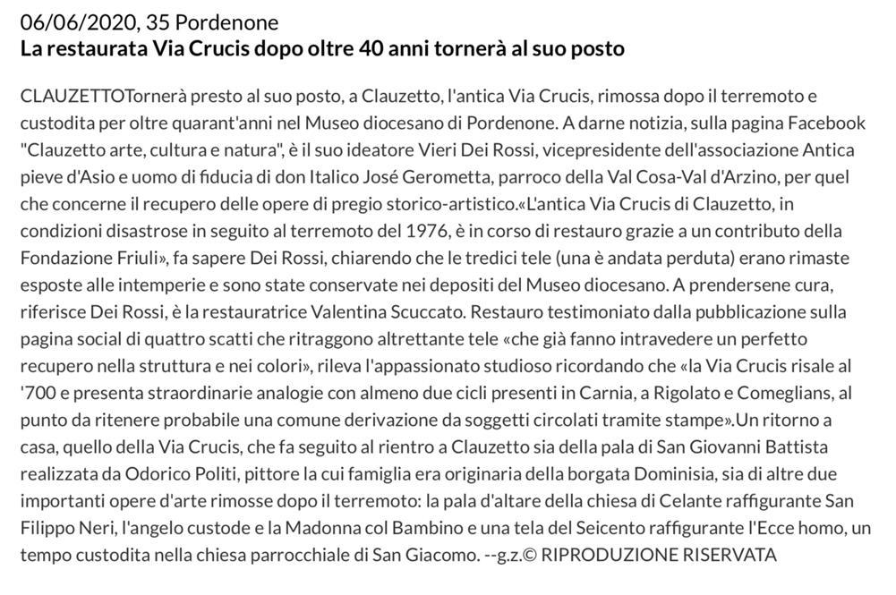 Messaggero Veneto 6 giugno 2020