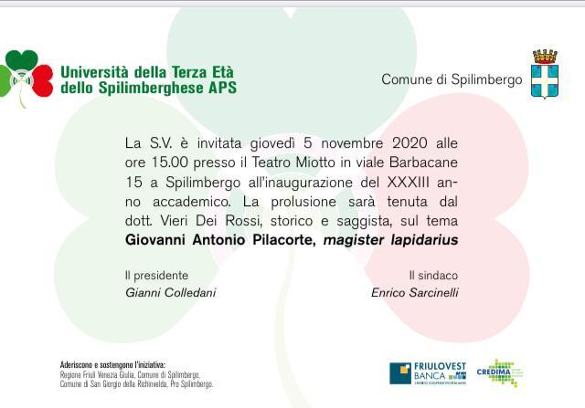 Apertura anno accademico UTE Spilimbergo 2020/21