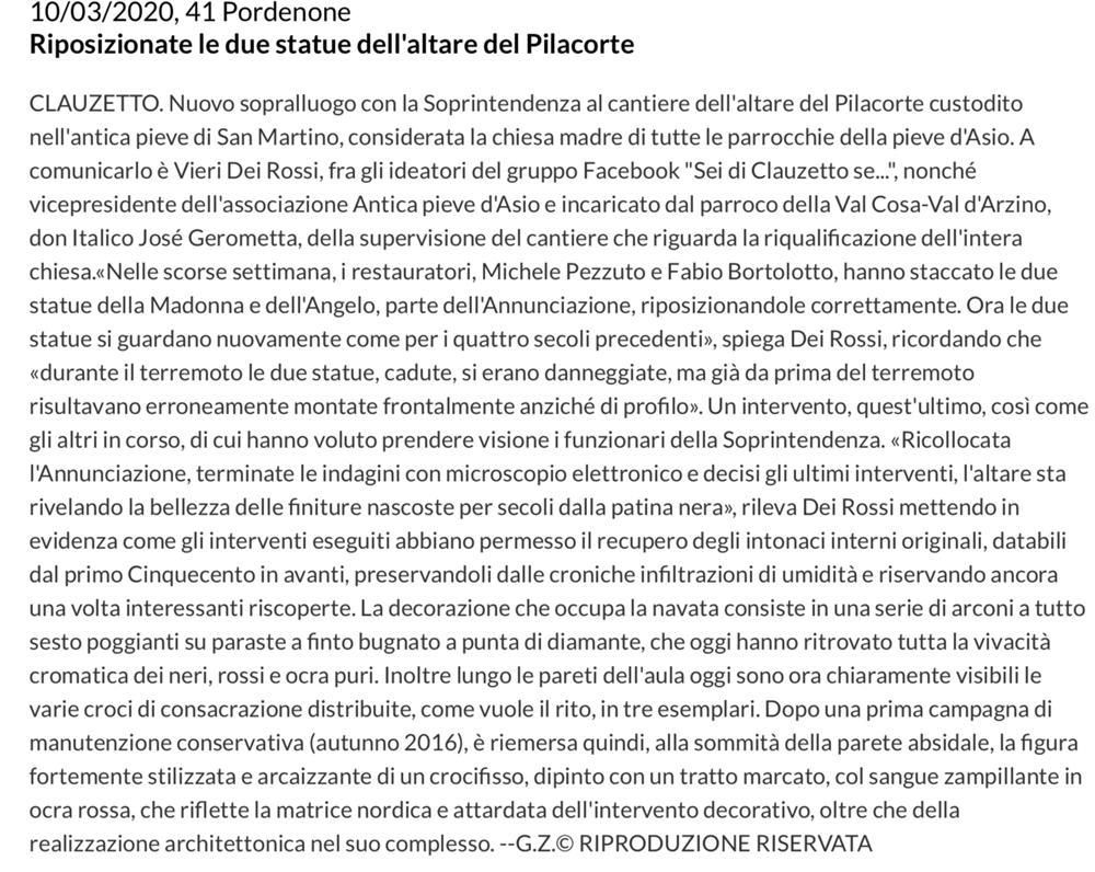 Messaggero Veneto 10 marzo 2020