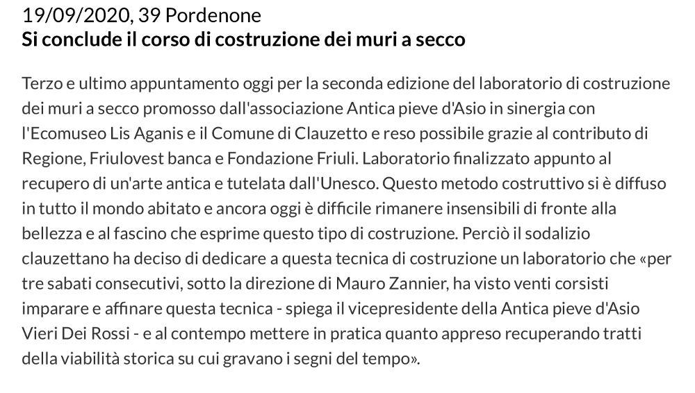 Messaggero Veneto 19 settembre 2020