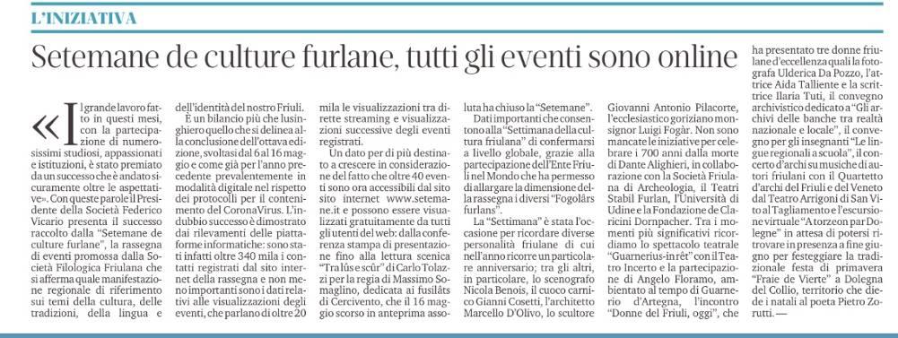 Il Messaggero Veneto 8 giugno 2021, p. 37
