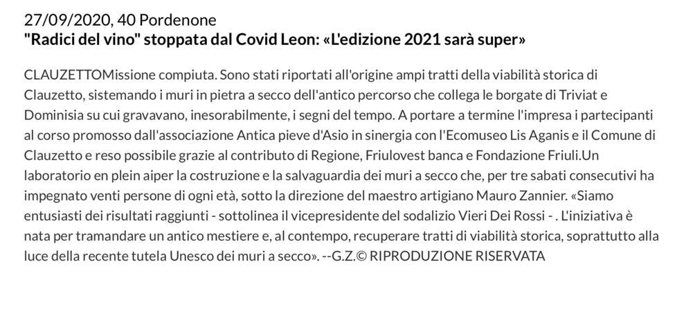 Messaggero Veneto 17 settembre 2020