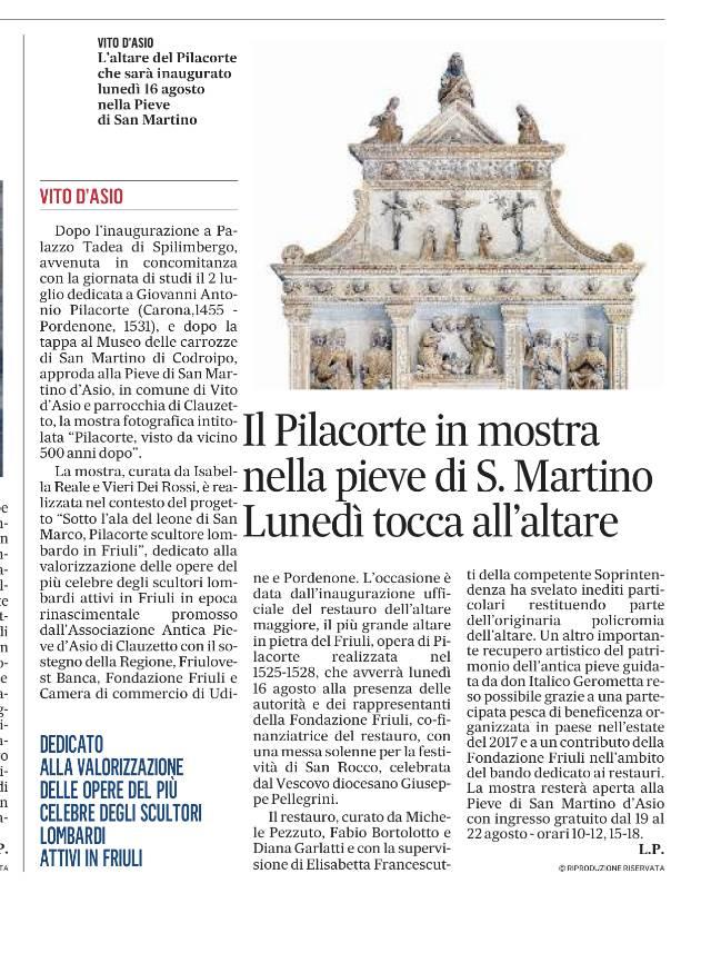 Il Gazzettino, sabato 14 agosto 2021, p. XIV