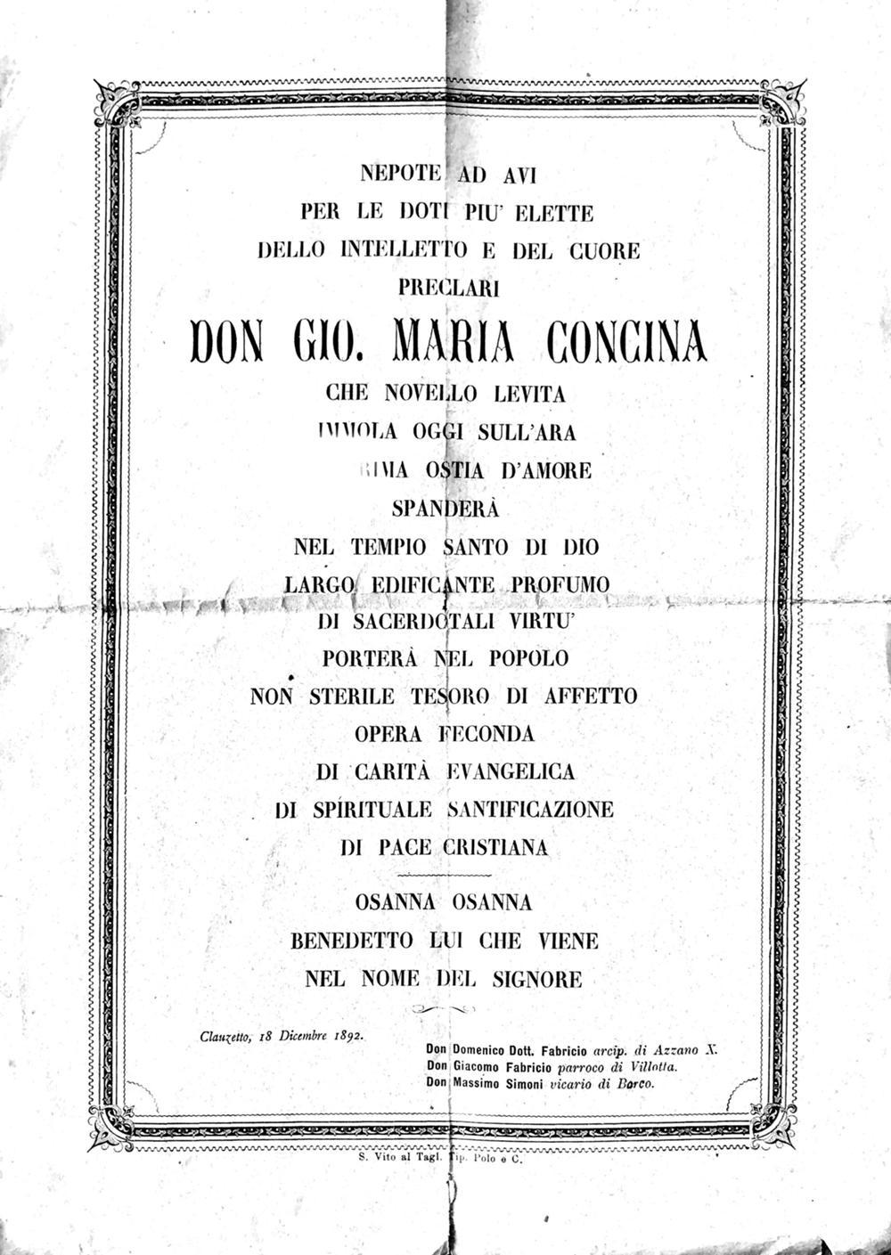 Per la prima messa di don Gio. Maria Concina
