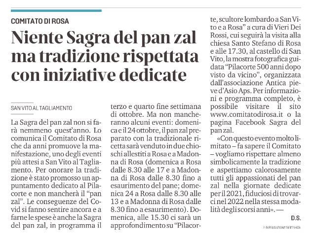 MESSAGGERO VENETO, MARTEDÌ 14 OTTOBRE 2021, P. 31