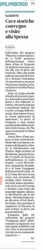MESSAGGERO VENETO, GIOVEDÌ 7 OTTOBRE 2021, p. 33