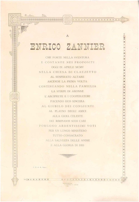 A Enrico Zannier per la prima messa