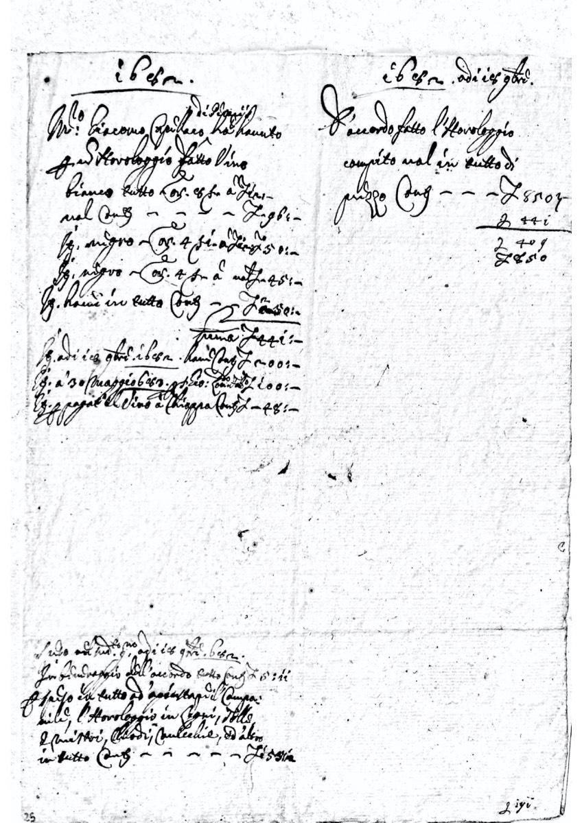 Nota di pagamento dell'orologio del campanile di Clauzetto