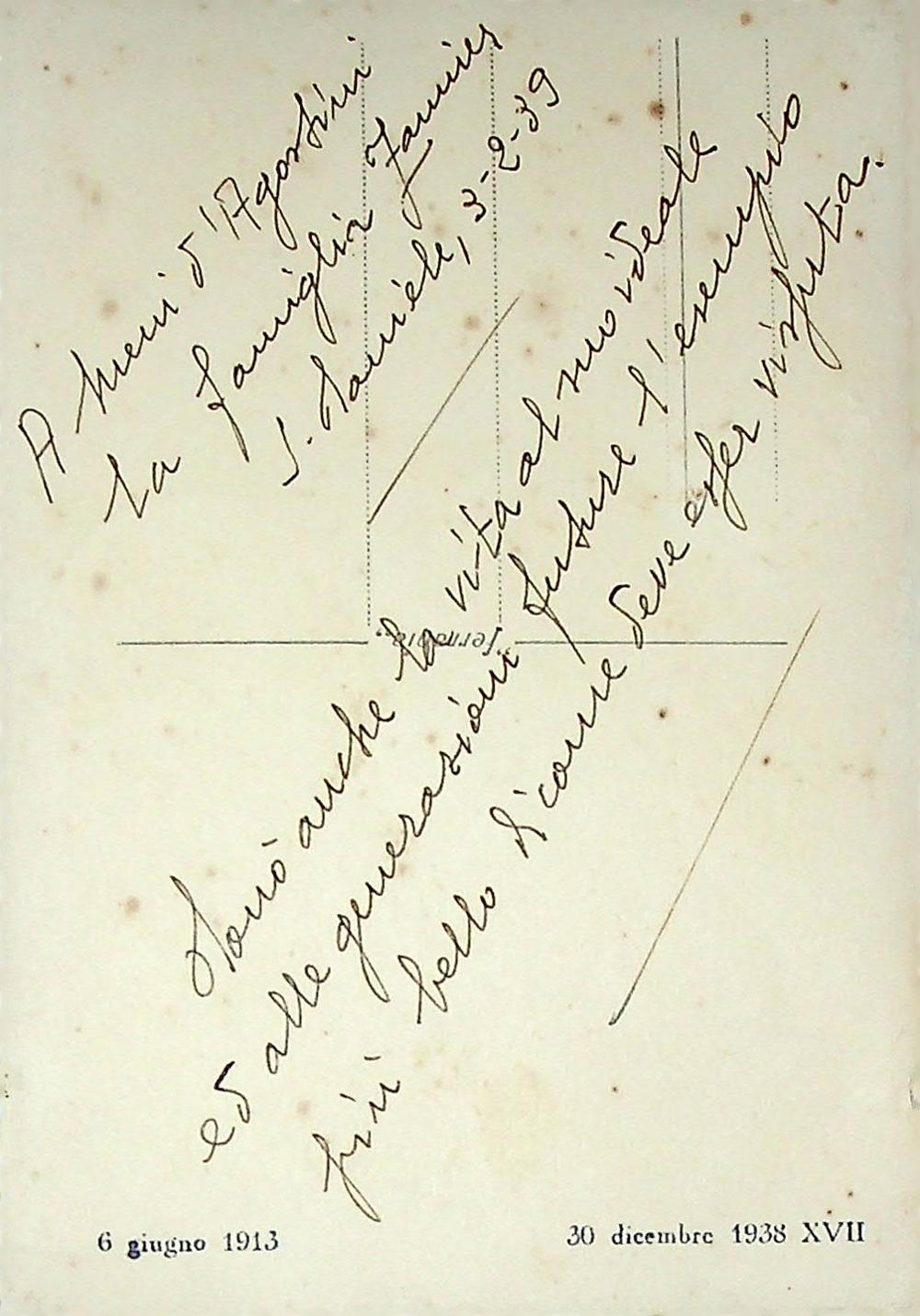 Dedica della foto ricordo del pilota Ugo Zannier