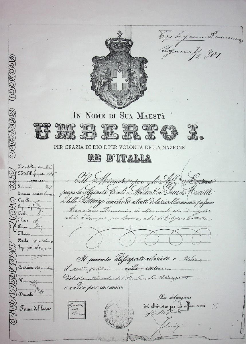 Passaporto rilasciato a Brovedani Domenico per gli stati d'Europa, per lavoro