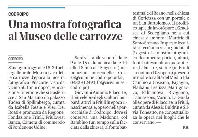 Il Messaggero Veneto, Udine 23 luglio 2021, p. 30