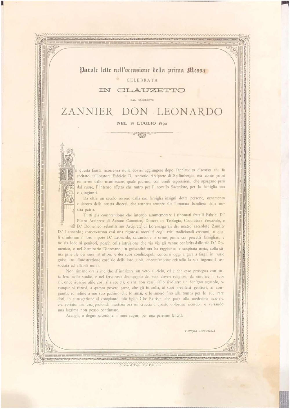 A Leonardo Zannier per la prima messa