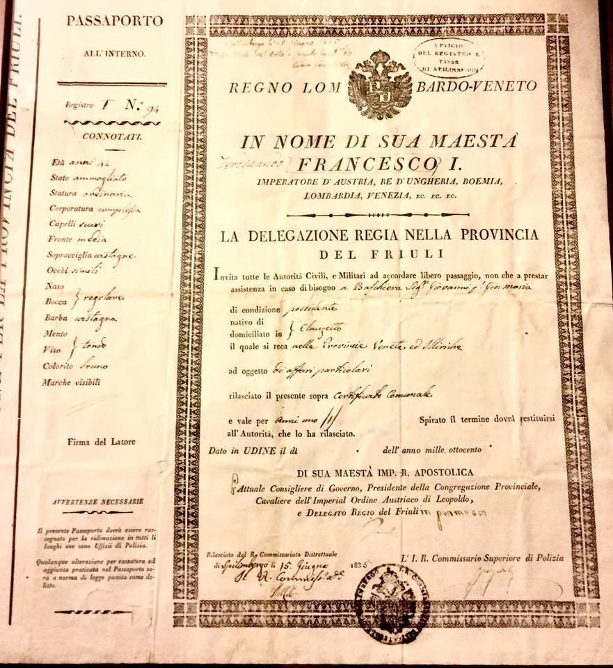 Passaporto di Giovanni Baschiera