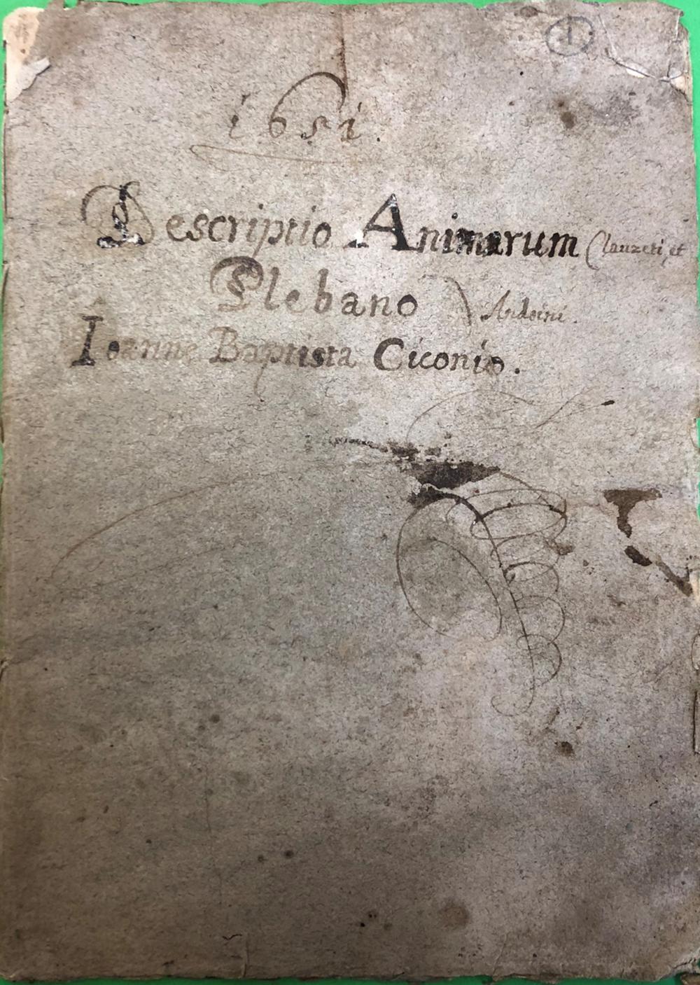 Descriptio animarum Clauzeti et Anduini plebano Ioanne Baptista Ciconio 1651