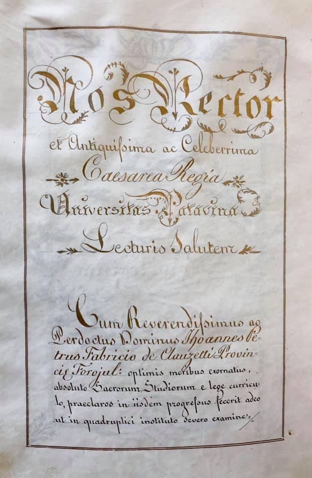 Laurea in teologia di Mons. Gio Pietro Fabricio