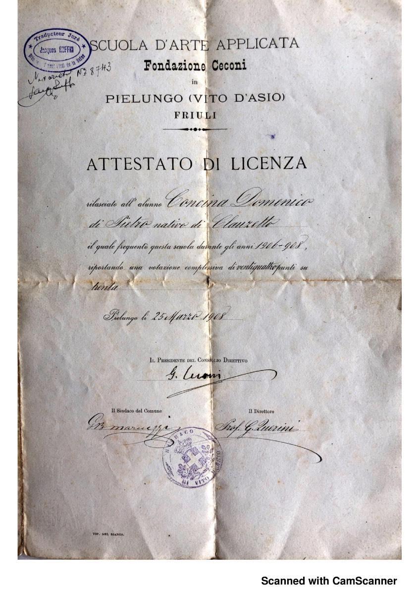 Attestato di licenza della Scuola di Arte applicata, Fondazione Ceconi, Pielungo